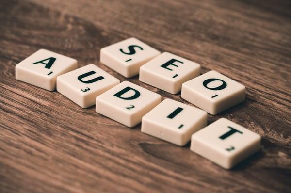 Scrabble letters arranged to read, SEO audit