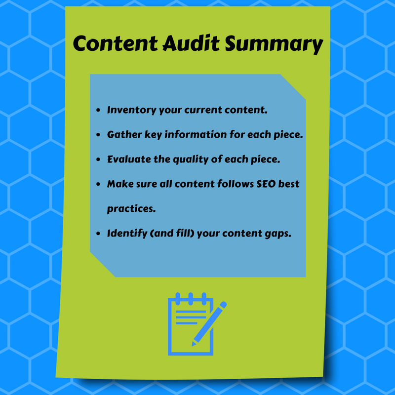 Graphic reading, content audit summary, with a list of the five steps detailed in the blog post