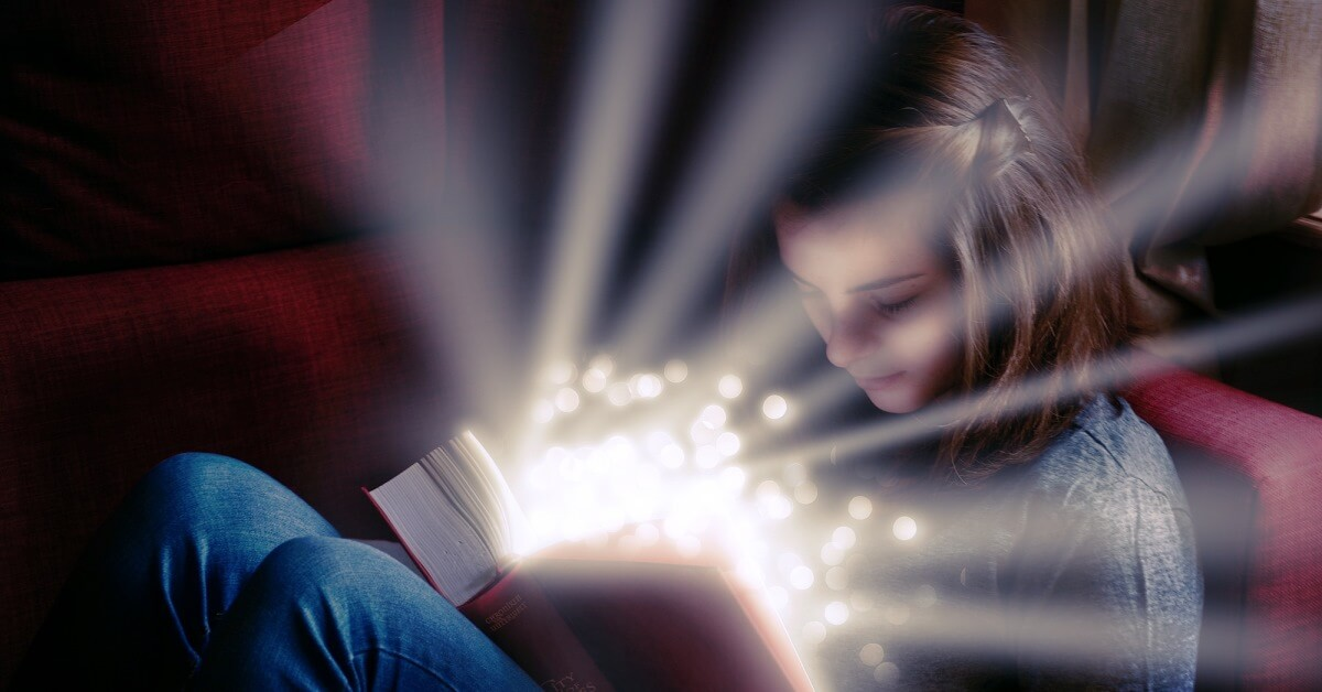The magic ingredient of content marketing campaigns is storytelling, shown by an image of a child reading