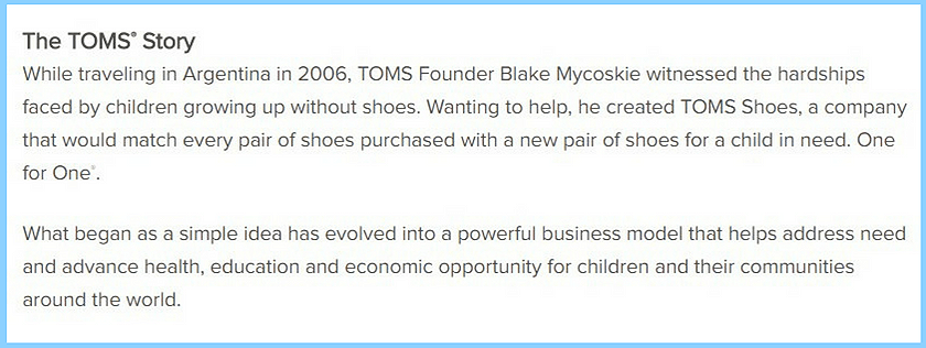 Screenshot of TOMS brand story