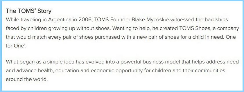 Screenshot of TOMS brand story