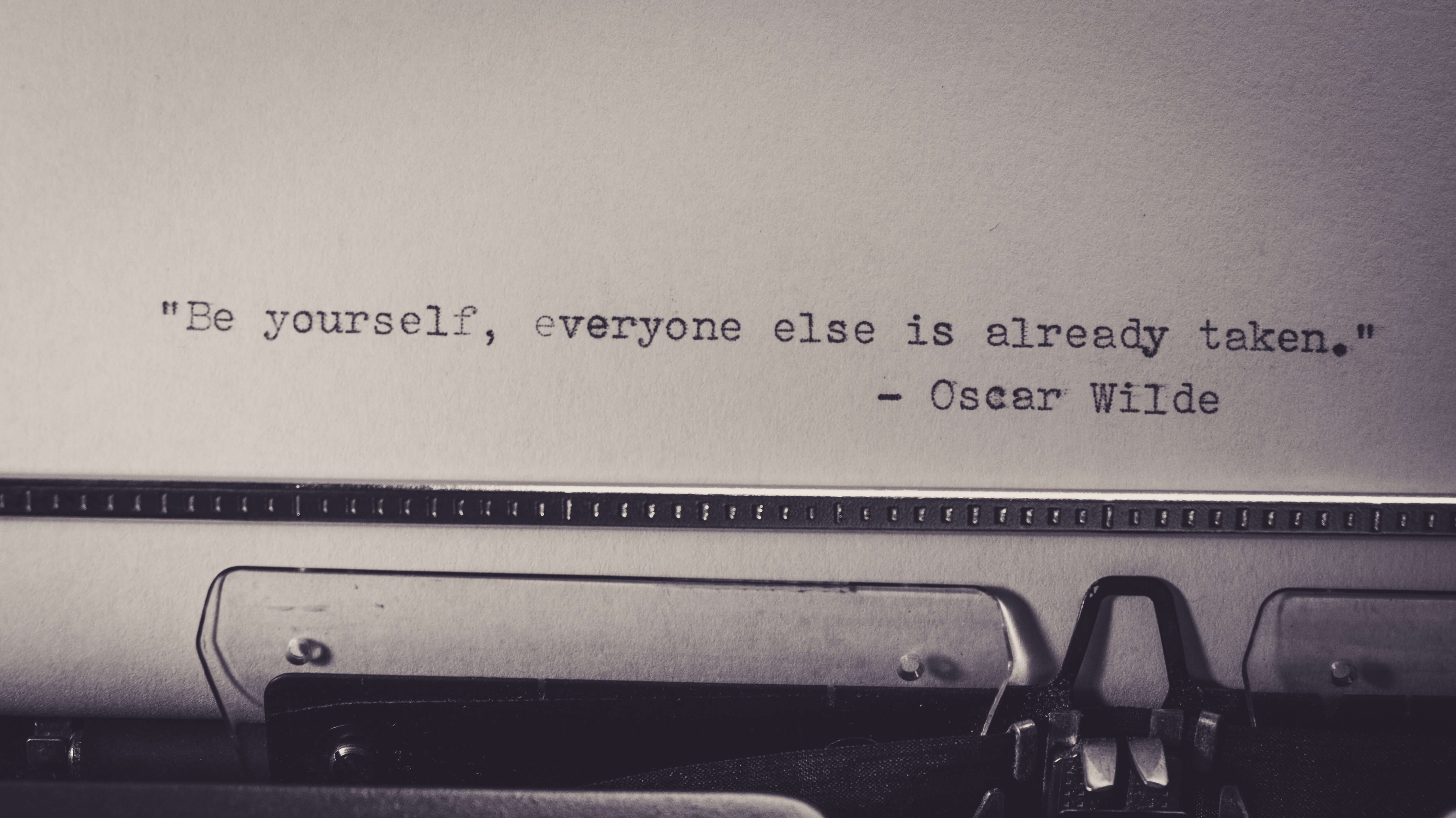 Oscar Wilde quote typed out with a typewriter
