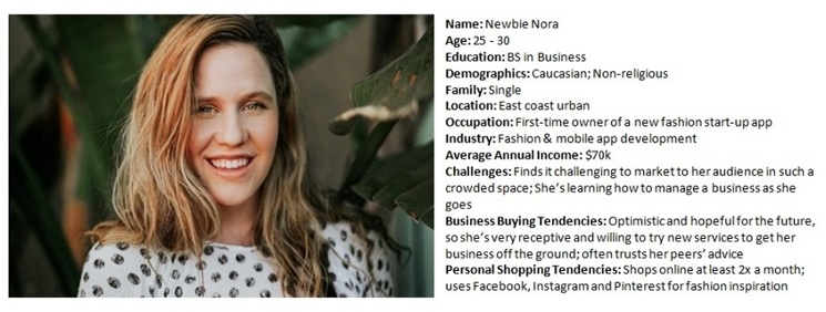 Sample of a buyer persona named Newbie Nora