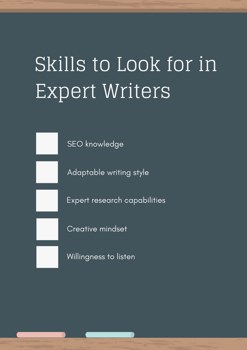 Checklist of skills to look for in expert writers