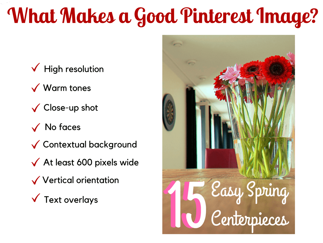 Graphic that details what makes a good Pinterest image