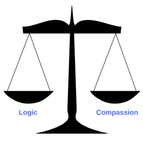 The Scales of Justice with logic on one side and compassion on the other
