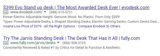 Screenshot of  Adwords ad on SERP
