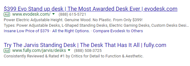 Screenshot of  Adwords ad on SERP