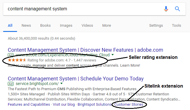 Screenshot of AdWords ad on search for content management system