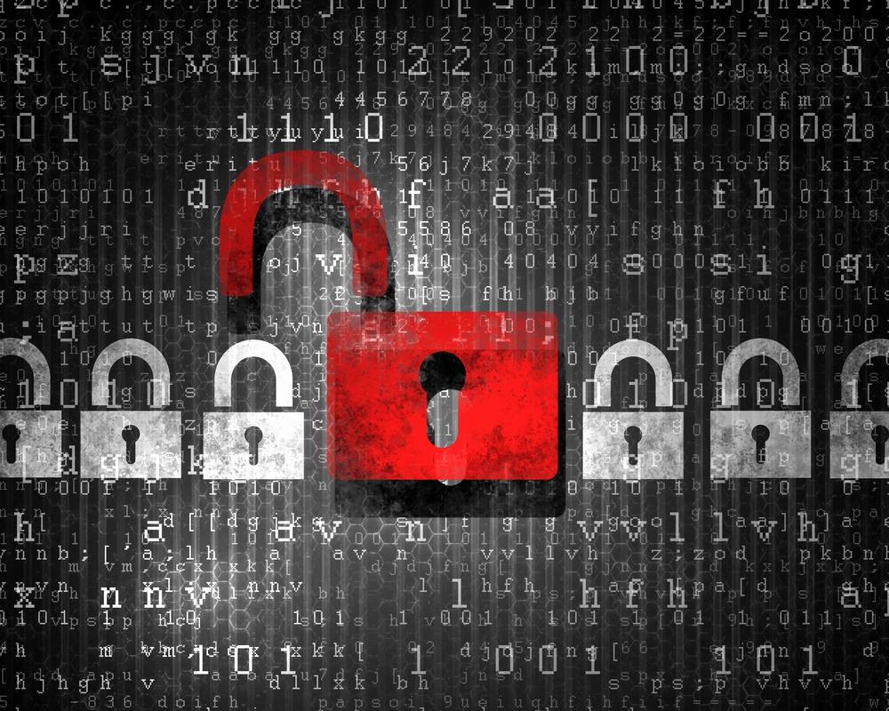 Security concept Lock on digital screen, illustration.jpeg