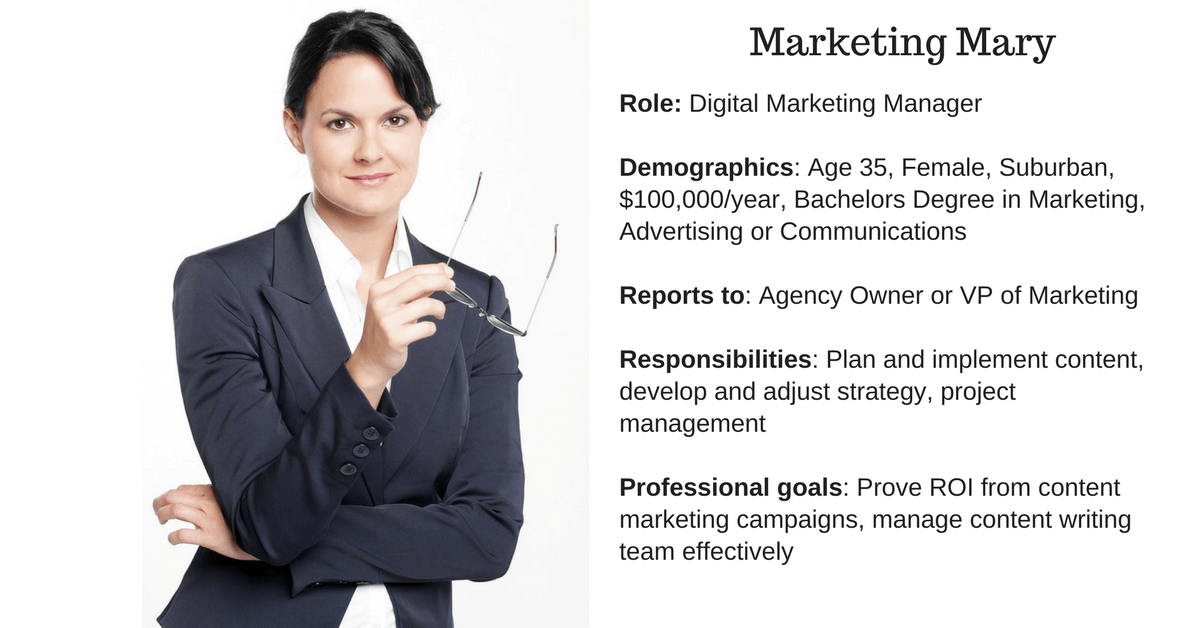 Buyer persona example of Marketing Mary with data