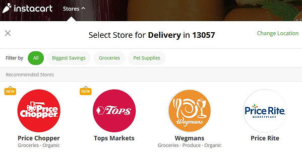 Instacart website local stores option screenshot
