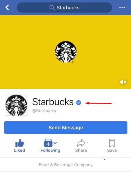 Screenshot of Starbucks' Facebook page with an arrow pointing to their verification mark
