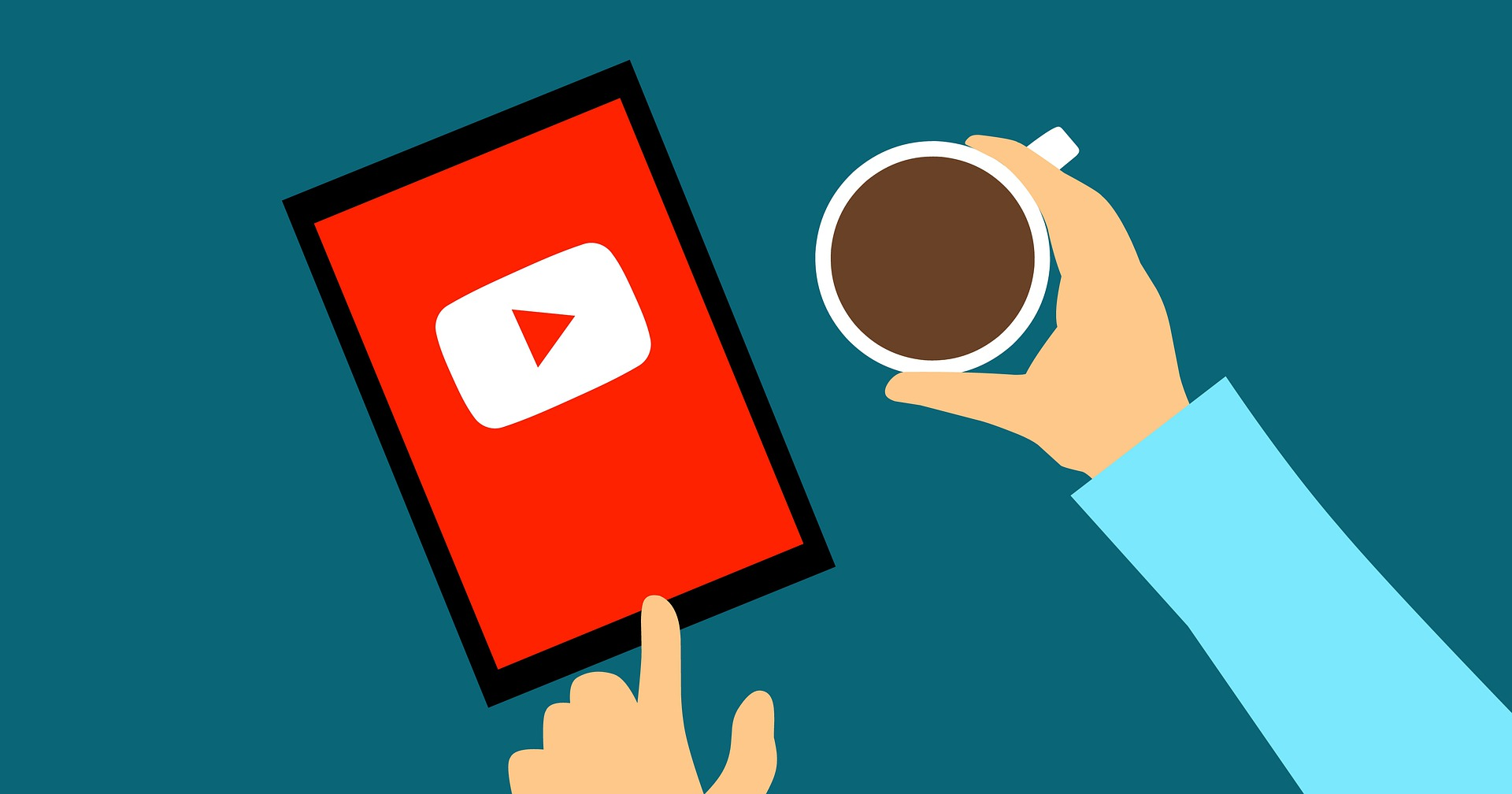 Illustrated graphic of the YouTube app on a tablet with a person holding a cup of coffee, representing the popularity of the platform on mobile devices