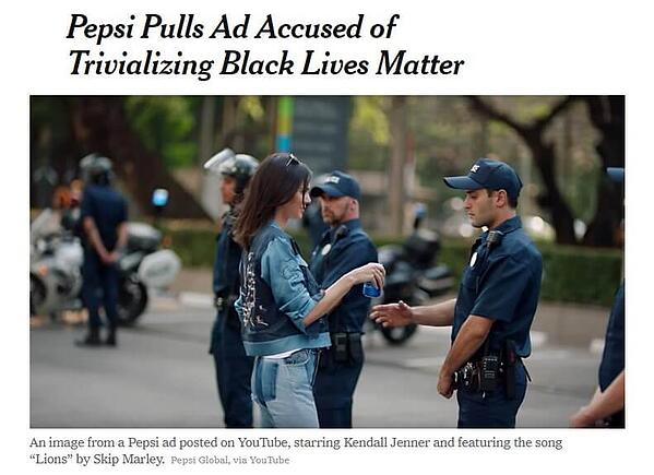 Screenshot of the New York Times article headline and image about Pepsi's controversial Kendall Jenner TV ad