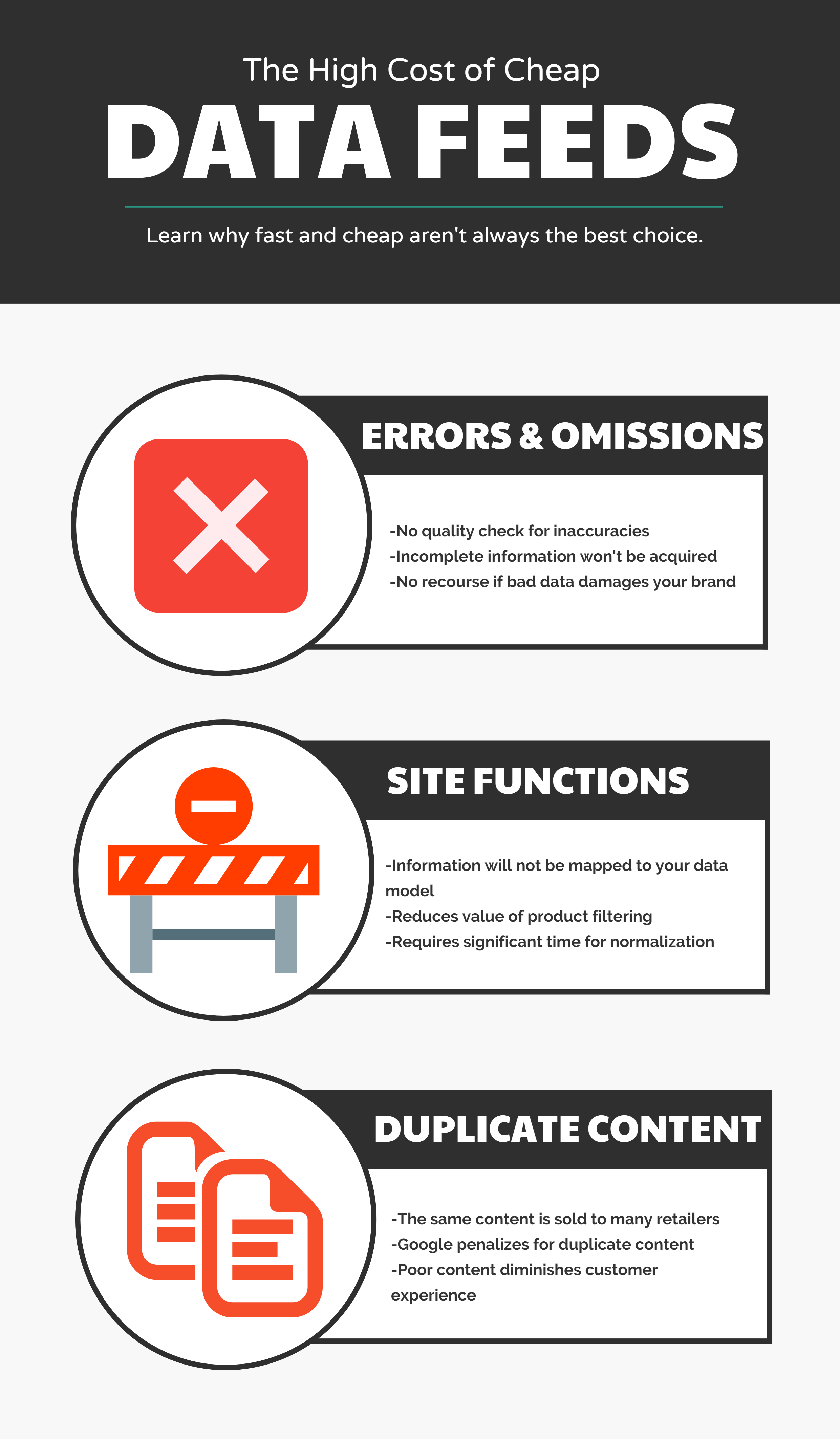 Infographic explaining problems associated with product data feeds