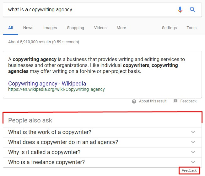 Screenshot of the featured snippet for the query, what is a copywriting agency
