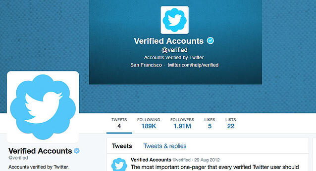 Screenshot showing verified accounts Twitter page with blue checkmark next to name