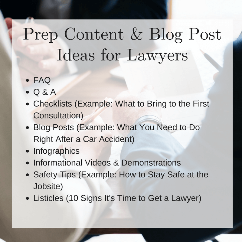 Prep Content and Blog Post Ideas for Lawyers Graphic