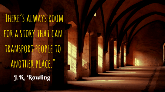 Quote from J.K. Rowling, author of the Harry Potter series, showing the power of storytelling with a background representing Hogwarts Castle