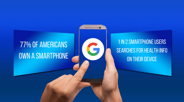 Graphic that reads, 77% of Americans own a smartphone and 1 in 2 smartphone users searches for health info on their device