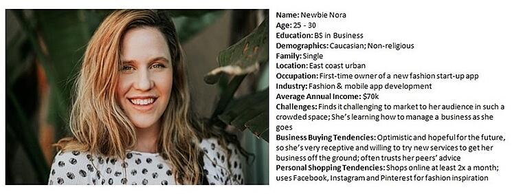 A buyer persona for Newbie Nora with various demographic information.